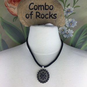 Chaps Black Cord Silver Tone Pendant Necklace